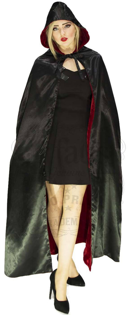 Red Velvet and Black Silk Reversible Hooded Cape
