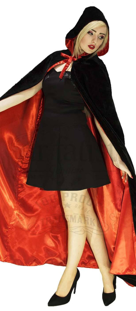 Black Velvet and Red Silk Reversible Hooded Cape