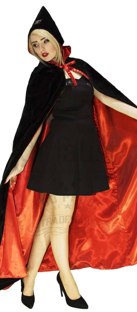 Black Velvet and Red Silk Reversible Pointed Hooded Cape