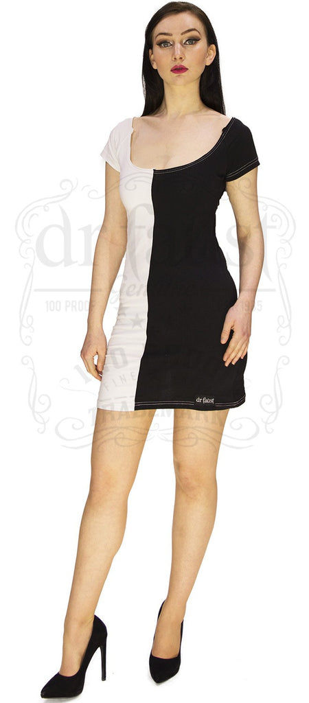 Cruella Deville Split Personality Fitted Dress In Black N White