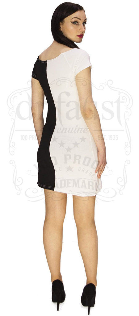 Cruella Deville Split Personality Fitted Dress in Black n White.