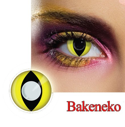 Bakeneko Cat Eye Dress Contact Lens in Yellow & Black.