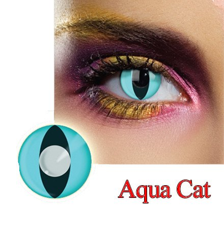 Aqua Cat Dress Contact Lens in Aqua.
