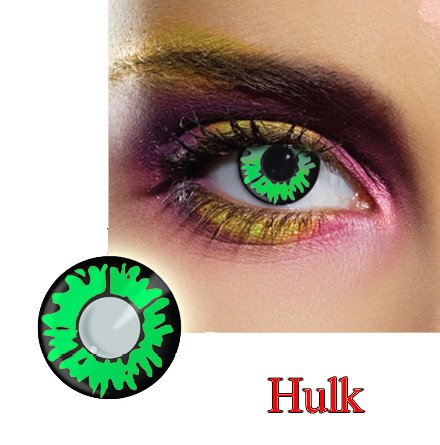 Green Reptile Dress Contact Lens in Green and Black.