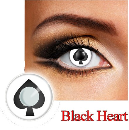 Black Heart Dress Contact Lens in Black and White.
