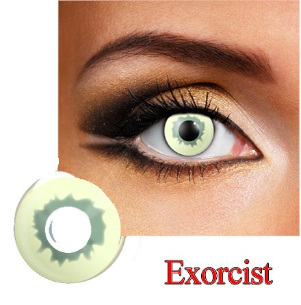 Reptile Dress Contact Lens in Green, Yellow and Black.