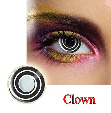 Clown Dress Contact Lens in Black and White.