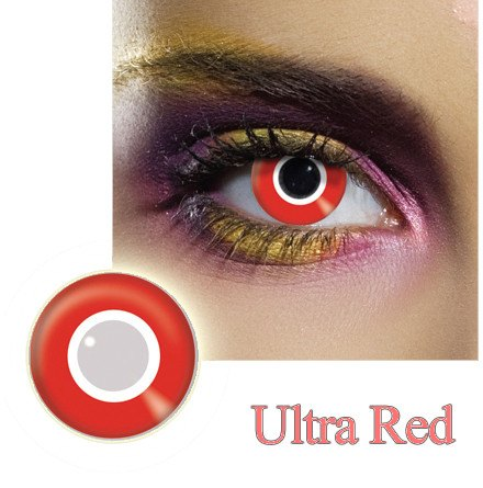 Ultra Red Halloween and Party Contact Lens. Color Contact Lens, M 30 Days, Finish off the final touch of the Dress by wearing super bright Color Contact Lens.   Crazy Colour Contact Lense.