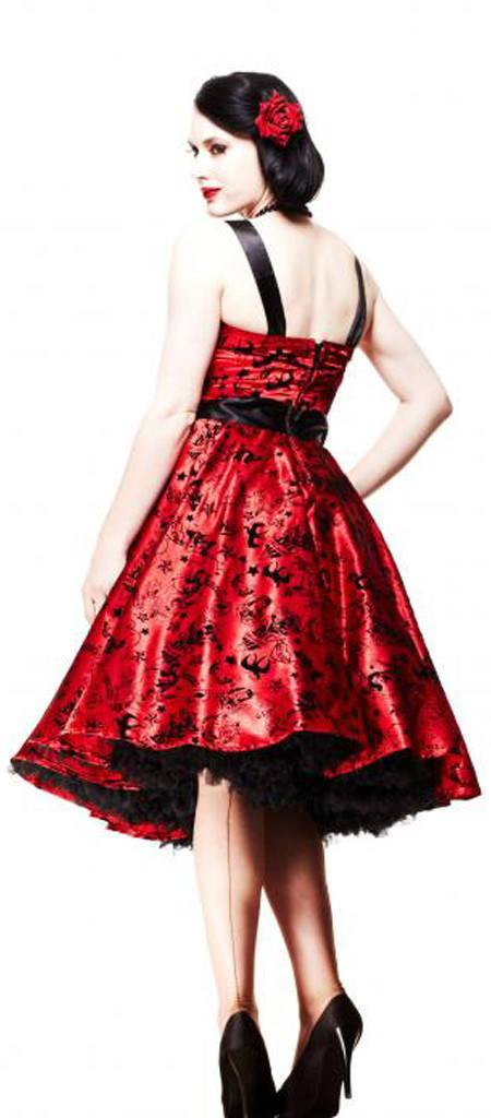 Hell Bunny Red Tattoo Flocked Dress