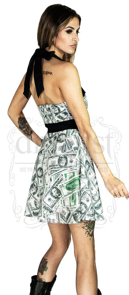 $10, $20, $50, $100 Black & Green Print Million Dollar Short Milk Coloured Dress