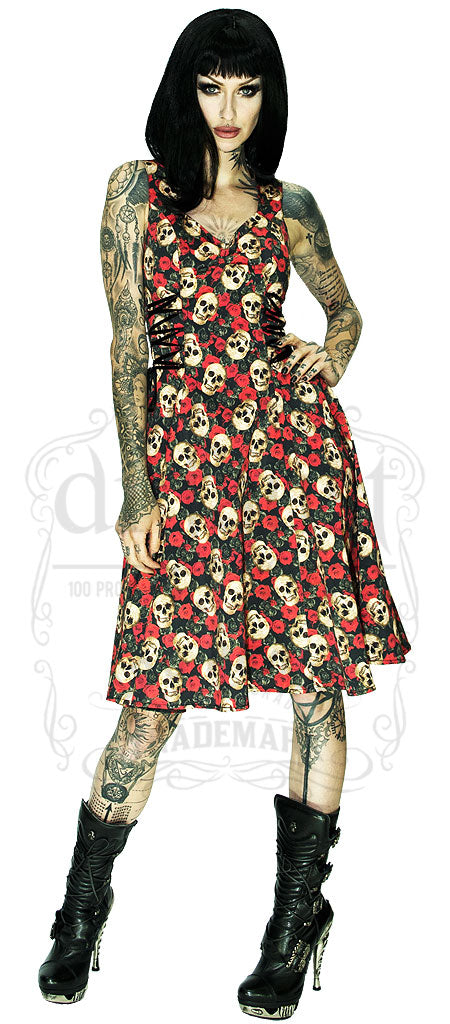 Darkly Skull in 3D Dress in Black
