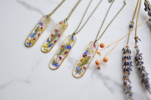 Pressed flower brass bar necklace - Meadow Walker