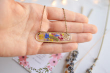 Load image into Gallery viewer, Pressed flower brass bar necklace - Meadow Walker