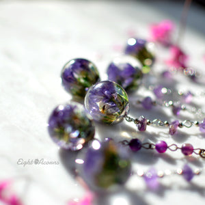 purple statice limonium necklace with amethyst