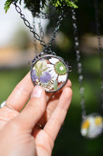 Load image into Gallery viewer,  Unique terrarium style necklace features home grown and locally sourced daisies, violas, ferns and queen anne's lace - carefully arranged into Summer bouquet for you to admire. * Flowers are pressed and dehydrated to preserve the natural shape and color, then carefully set in a glass in a stained glass technique.