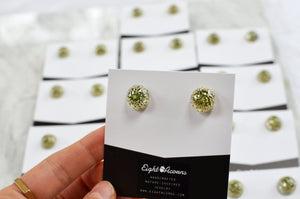 Floral stud earrings - real queen anne's lace