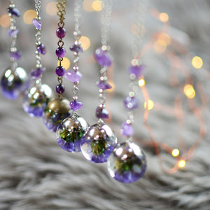 purple Sea Lavender necklace with amethyst