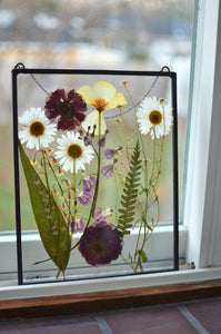 Pressed flower glass frame Wall hanging - After the rain