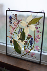 Pressed flower glass frame Wall hanging - Spring has sprung