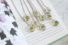 Load image into Gallery viewer, Four leaf clover necklace, pressed leaf, Lucky 4 leaf clover