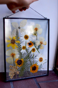 Pressed flower glass frame Wall hanging - Wild & Free