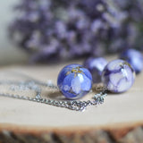 Flower necklace- blue delphinium