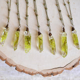 Crystal moss necklace / Raw Crystal