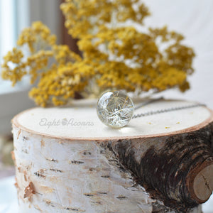 Dandelion seeds, small 2 cm sphere necklace