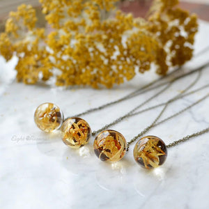 Real Marigold flower sphere necklace 2 cm