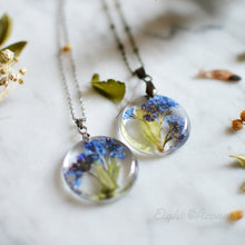 Load image into Gallery viewer, Pressed forget-me-not terrarium necklace