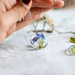Pressed forget-me-not terrarium necklace