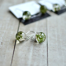 Load image into Gallery viewer, Handcrafted earrings feature a piece of beautiful green Norwegian moss, preserved in the clear jewelry grade resin.