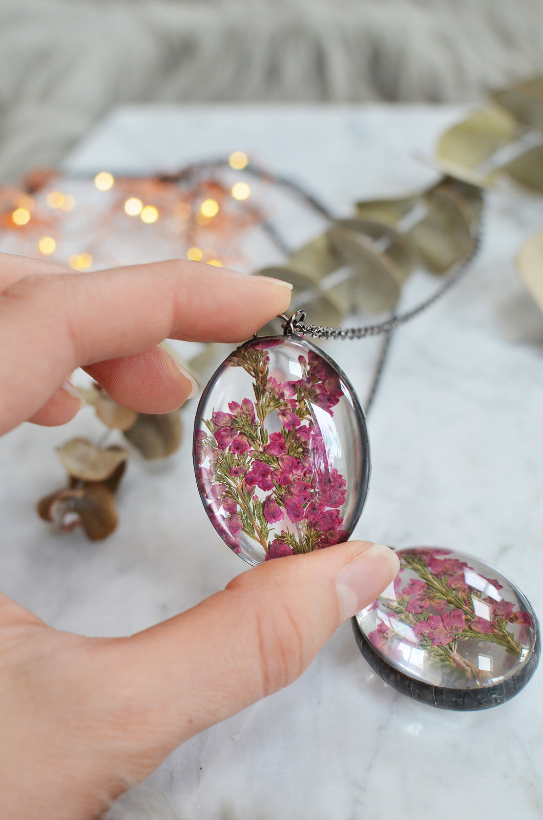(Wholesale) of Pink heather flower glass pendant