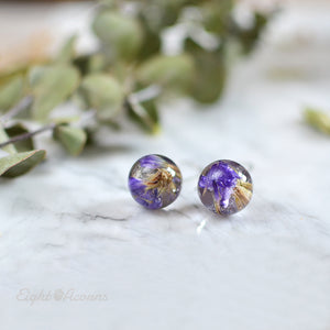 Purple limonium sphere earrings