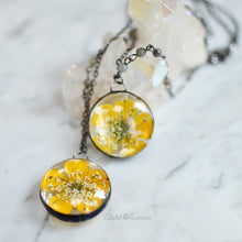 Load image into Gallery viewer, Buttercup/Queen Anne's Lace round pendant, Real flower keepsake