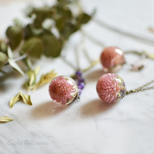 Pink Globe Amaranth Flower necklace