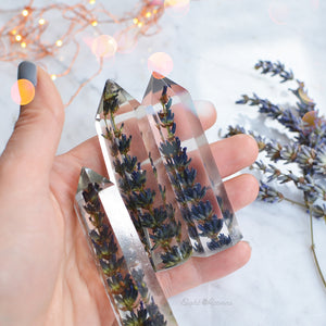 FRENCH LAVENDER  terrarium, Natural crystal point