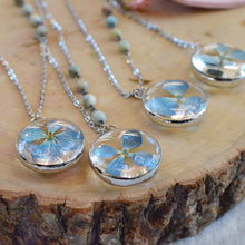 Load image into Gallery viewer, Blue Hydrangea Blossom Glass Pendant