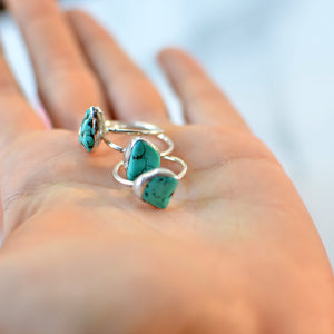Natural turquoise silver ring
