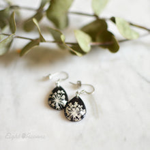 Load image into Gallery viewer, Pressed Queen Anne's Lace teardrop earrings