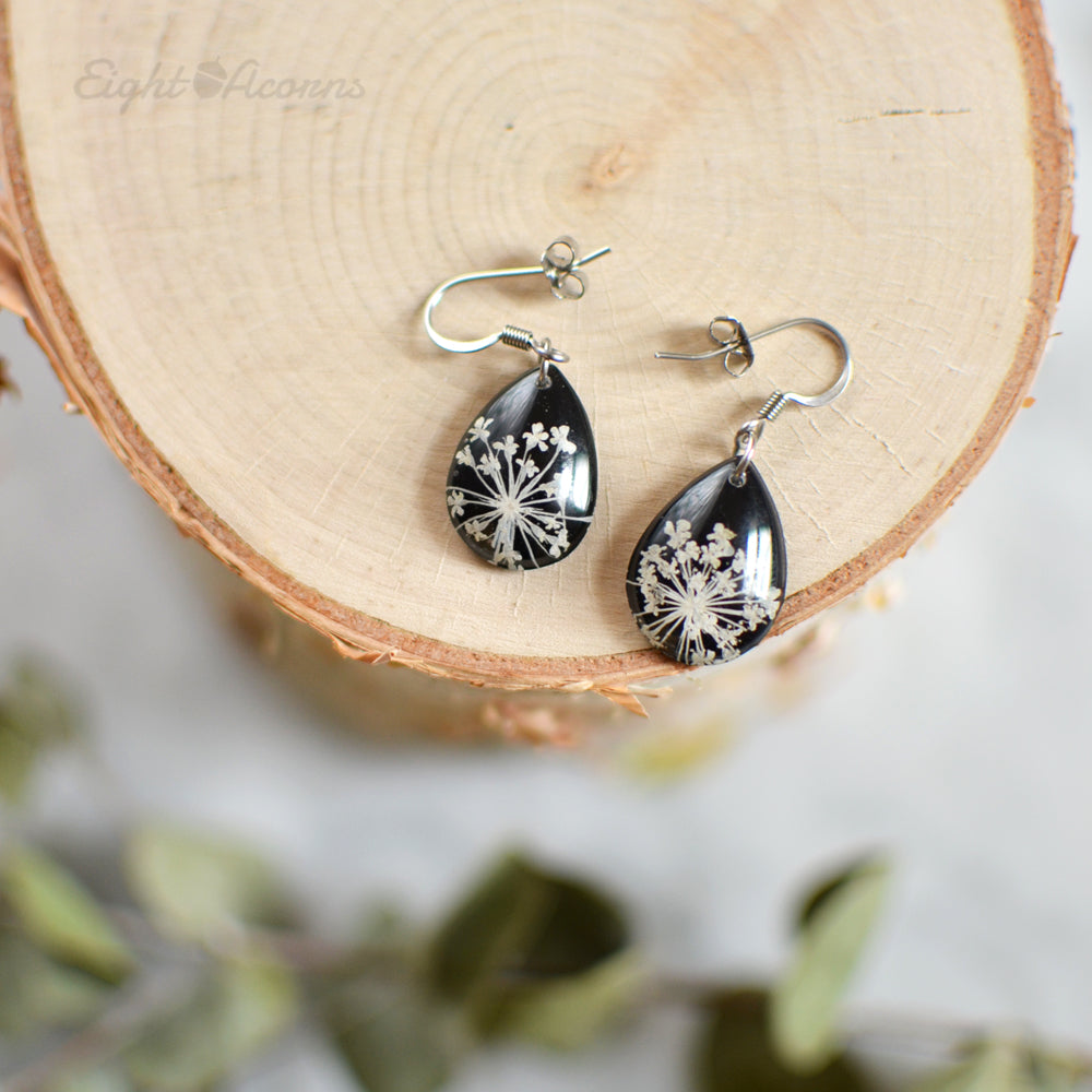 Pressed Queen Anne's Lace teardrop earrings