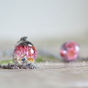 Floral Terrarium sphere necklace