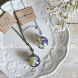 Real flower necklace, pansy viola resin jewelry - pressed flower jewelry