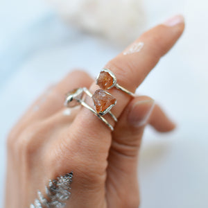 Raw Yellow Citrine silver ring