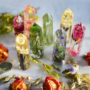 Resin crystal, pressed flower terrarium