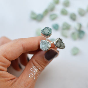 Natural Raw Seraphinite silver ring
