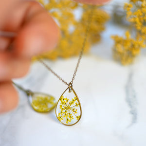 Yellow Queen Anne's Lace teardrop brass Pendant