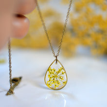 Load image into Gallery viewer, Yellow Queen Anne's Lace Teardrop Brass Pendant