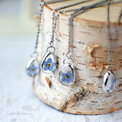 Forget me not teardrop pendant