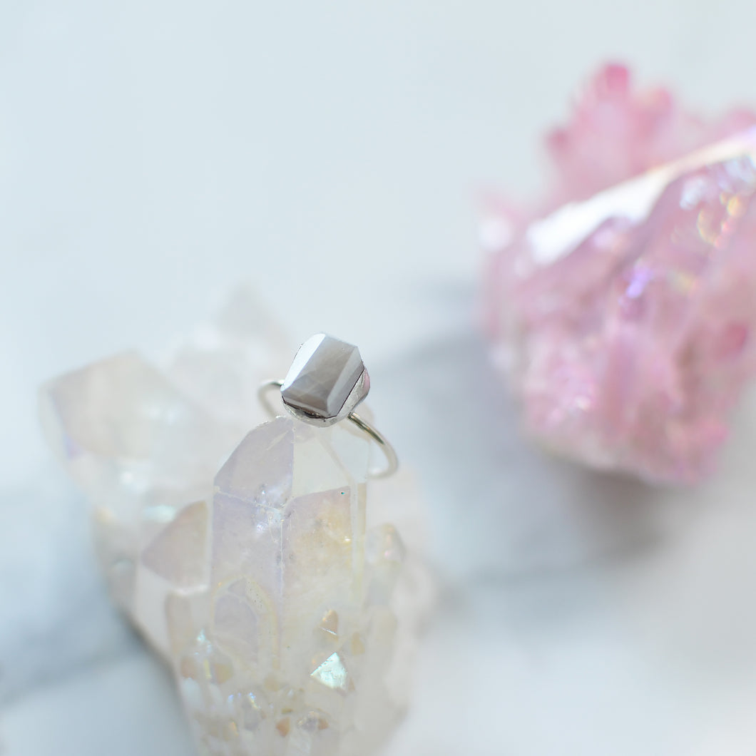Milky Opaque Chalcedony silver ring